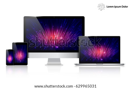 Realistic Computer, Laptop, Tablet and Mobile Phone with Technology Wallpaper Screen Isolated. Can Use for Template Presentation. Set of Device Mockup. Separate Groups and Layers. Easily Editable.