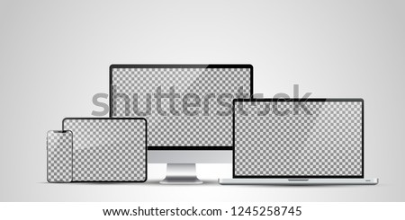 Realistic Computer, Laptop, Tablet and Mobile Phone with Transparent Wallpaper Screen Isolated. Set of Device Mockup Separate Groups and Layers. Easily Editable Vector.