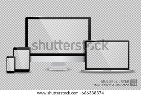 Realistic Computer, Laptop, Tablet and Smartphone with Blank Wallpaper Screen Isolated on Transparent Background. Use for Template. Set of Device Mockup. Separate Groups and Layers. Easily Editable.