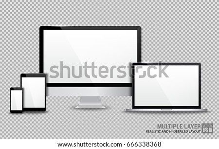 Realistic Computer, Laptop, Tablet and Smartphone with White Wallpaper Screen Isolated on Transparent Background. Use for Template. Set of Device Mockup. Separate Groups and Layers. Easily Editable.