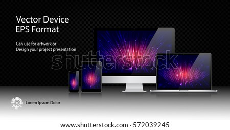 Realistic Computer Monitor, Laptop, Tablet and Mobile Phone with Technology Wallpaper Screen Isolated. Can Use for Template Presentation. Electronic Gadget, Set of Device Mockup. Vector Illustration