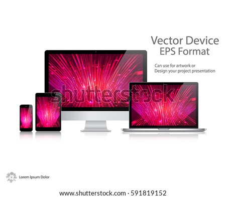 Realistic Computer Monitor, Laptop, Tablet and Mobile Phone with Technology Wallpaper Screen Isolated. Can Use for Template Presentation. Electronic Gadget, Set of Device Mockup. Vector Illustration.