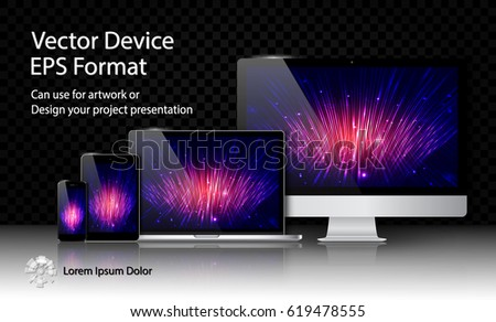 Realistic Computer Monitor, Laptop, Tablet and Smart Phone with Responsive Screen Isolated on Black Transparent Background. For Template Project Presentation. Electronic Gadget, Device Mockup Set.