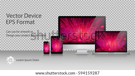 Realistic Computer Monitor, Laptop, Tablets and Smartphone with Power On Screen Isolated. Can Use for Template Presentation or Banner. Electronic Gadgets, Device Set Mock Up. Vector Illustration.
