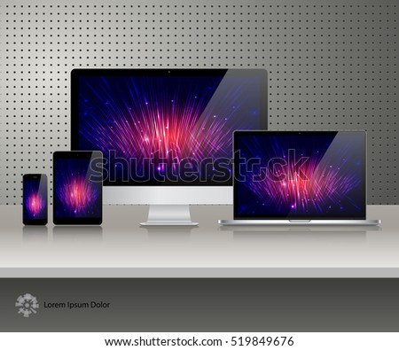Realistic Computer Monitor, Laptop, Tablets and Smartphone with Wallpaper Screen Isolated On Metal Background. Can Use for Template Presentation. Gadgets Device Set Mock Up. Vector Illustration