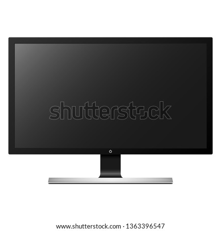 Realistic computer monitor, screen isolated on white background. Vector illustration