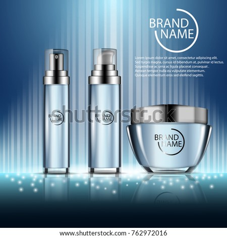 Realistic cosmetic ads template with moisturizing spray bottles and cream jar on blue shining background.  Vector 3d illustration for design  placard, presentation, banners and cover. #762972016