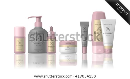 Realistic cosmetic bottle mock up set. Isolated cosmetic pack brand template.