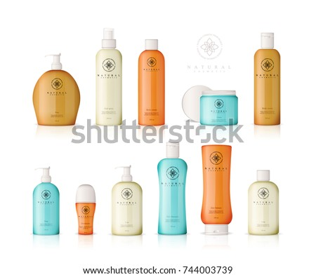 Realistic cosmetic bottles with gradient design on white background. Cosmetic cream containers and tubes for cream, lotion, shampoo, gel, balsam, conditioner, spray. 3d Vector Illustration