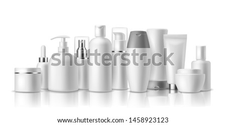 Realistic cosmetic mockups. Skin care cosmetics bottles, container and jar. Spa beauty product. Spray, lotion and cream vector isolated luxury package