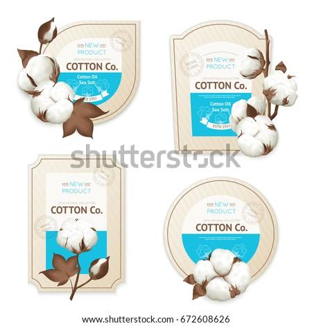 Realistic cotton emblem package icon set with cotton oil sea soft description vector illustration