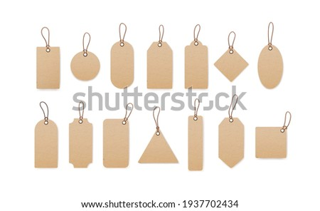Realistic craft carton paper price tags of different shapes isolated on white background. Blank cardboard shopping labels with strings. Vector illustration of empty sale kraft tabs hanging on twine
