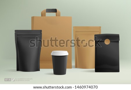 Realistic Craft Zip package mock-up set and for brand identity design. Coffee paper package and hot drink cups Isolated vector illustration. All objects on separate layers