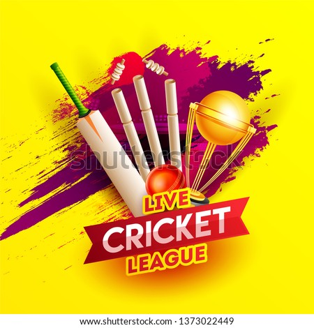 Realistic cricket elements on red brush stroke yellow background for Live Cricket League poster or flyer design.