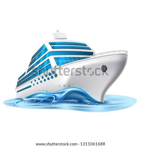 Realistic cruise liner mockup. Luxury journey transportation vessel. Voyage passenger ship, nautical symbol. Marine holiday vacation, travelling design transport. Vector illustration
