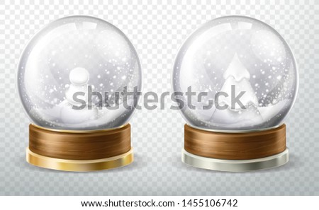 Realistic crystal globe set with fallen snow, snowman and christmas tree inside isolated on transparent background, glass ball design element, xmas gift, souvenir. Realistic 3d vector illustration