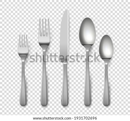 Realistic cutlery. 3D metallic forks and knives or spoons. Isolated metal glossy objects for table setting on transparent background. Top view of silverware set. Vector flatware from stainless steel Photo stock ©