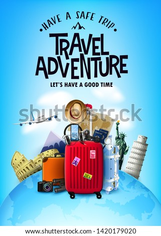 Realistic 3D Adventure Tourism Poster with Traveling Car and other Item Elements Above the Globe Map with Famous World Landmarks and Tourist Destination. Vector Illustration