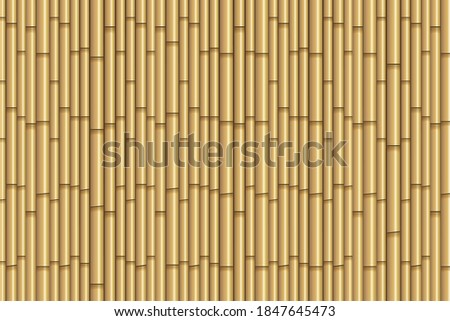 Realistic 3D bamboo texture background. Brown bamboo stick pattern background. Seamless Bamboo Background. Vintage bamboo wall seamless texture background. Vector illustration, eps10.