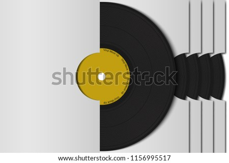 Realistic 3d black vinyl record set mock up  in white paper cover. Retro design disk template in case. Front view with shadow. Vintage background