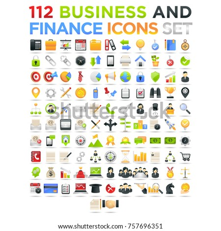 Realistic 3d business and finance vector icons set on white background