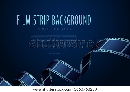 Realistic 3D cinema film strip in perspective isolated on blue background. Festive design cinema film frame with place for text. Vector template movie for festival, ticket, advertising, banner, flyer.