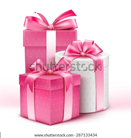 Realistic 3D Collection of Colorful Pattern Gifts for Ladies with Pink Ribbon for Birthday Celebration Christmas Valentines Party Anniversary and Eid Mubarak Vector Illustration