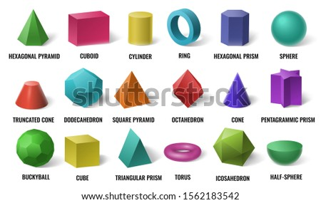 Realistic 3D color basic shapes. Solid colored geometric forms, cylinder and colorful cube shape. Maths geometrical figure form, realistic shapes model. Isolated vector illustration icons set Foto stock ©