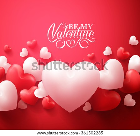 Realistic 3D Colorful Red and White Romantic Valentine Hearts Background Floating with Happy Valentines Day Greetings. Vector Illustration
