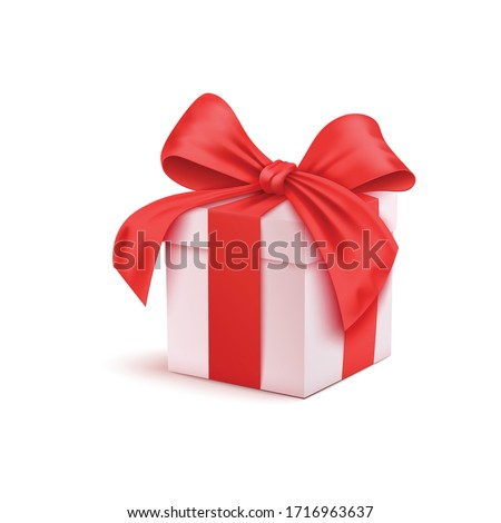 Realistic 3D Colorful Red Gift Box with Pattern and Satin Ribbon and Bow for Valentines Day, Birthday Celebration, Christmas, Party and Anniversary. Isolated Vector Illustration