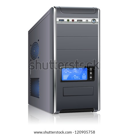 Stock Photo Realistic 3D Computer Case with LCD Display, isolated on white background. Isolated vector illustration