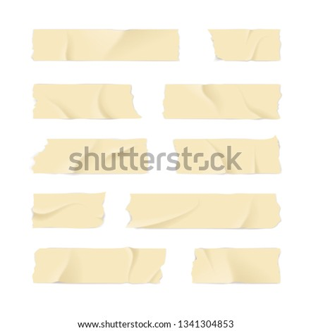 Realistic 3d Detailed Adhesive or Masking Tape Set Torn Pieces for Fixing Notes. Vector illustration of Sticky Ripped Tapes