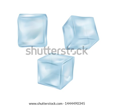 Realistic 3d Detailed Blue Solid Ice Cubes Set Cool Purity Crystal for Drink. Vector illustration of Cube