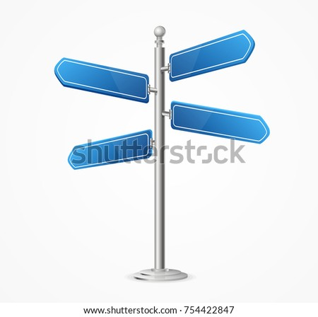 Realistic 3d Detailed Direction Road Signs Empty Blank Blue Arrow Isolated on a White Background Symbol of Choice. Vector illustration