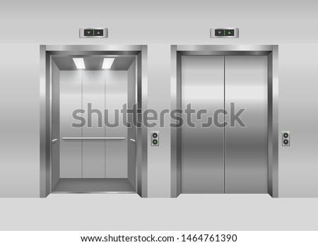 Realistic 3d Detailed Elevator with Opened and Closed Metal Doors Modern Interior Office or Hotel. Vector illustration