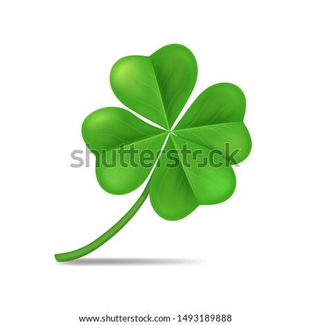 Realistic 3d Detailed Green Shamrock Leaf Isolated on a White Background Symbol of Celebration Irish Holiday. Vector illustration Сток-фото ©