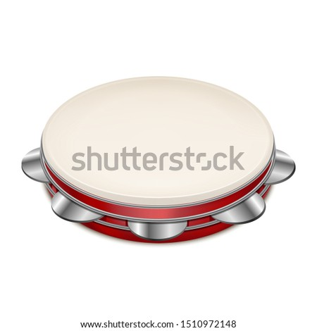 Realistic 3d Detailed Musical Instrument Tambourine Can Be Used for Song, Band, Carnival and Show. Vector illustration Stock photo ©