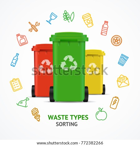 Realistic 3d Detailed Recycled Bins witch Color Outline Icons Round Design Template Line Concept for Ad. Vector illustration