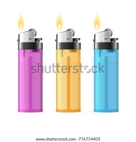 Realistic 3d Detailed Transparent Color Plastic Lighter Set Tool for Habit Smoker. Vector illustration of Colorful Burning Lighters ストックフォト ©