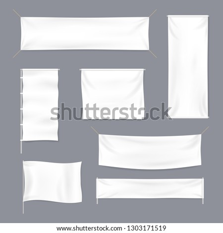 Realistic 3d Detailed White Blank Textile Advertising Banner Template Mockup Set. Vector illustration #1303171519