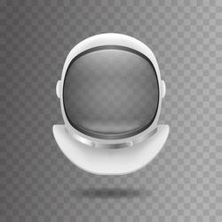 Realistic 3d Detailed White Cosmonaut Helmet on a Transparent Background Spacesuits Mask. Vector illustration of Element Cosmonauts Suit