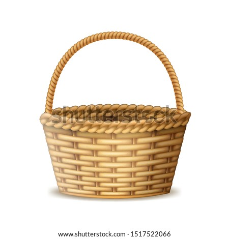 Realistic 3d Detailed Wooden Brown Basket with Handle for Picnic or Harvest. Vector illustration of Willow Wicker Hamper Stockfoto ©