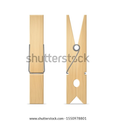 Realistic 3d Detailed Wooden Clothes Peg Set for Laundry and House Side and Front View. Vector illustration of Clothespin ストックフォト ©