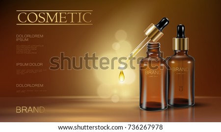 Realistic 3d essence bottle cosmetic ad oil droplet falling pipette. Treatment collagen vitamin serum. Brown translucent glass package golden liquid blank text template banner vector illustration art