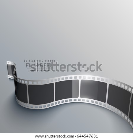 realistic 3d film strip background in perspective