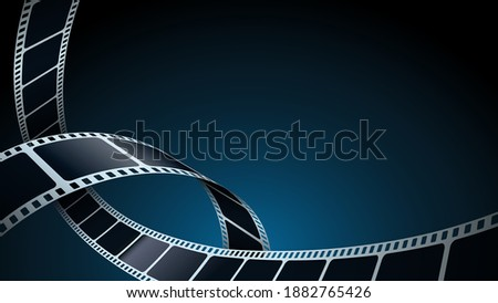 Realistic 3d film strips in perspective. Modern Cinema Background. Template poster for cinema festival. Movie design film strip for advertisement, poster, brochure, banner, flyer. Isometric style.