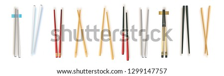 Realistic 3d Food Chopsticks Set Different Types. Vector illustration of Traditional Asian Bamboo Utensils Color Chopstick. Vector illustration 10 eps. Foto stock ©