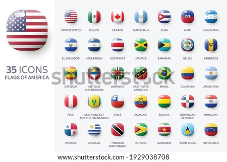 Realistic 3d glossy icons of Nort and South America countries, American flags. Vector illustration  Foto stock ©