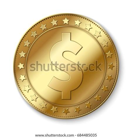 Realistic 3d gold dollar vector coin isolated on white. Cash abundance symbol. Coin dollar money, cash finance investment illustration