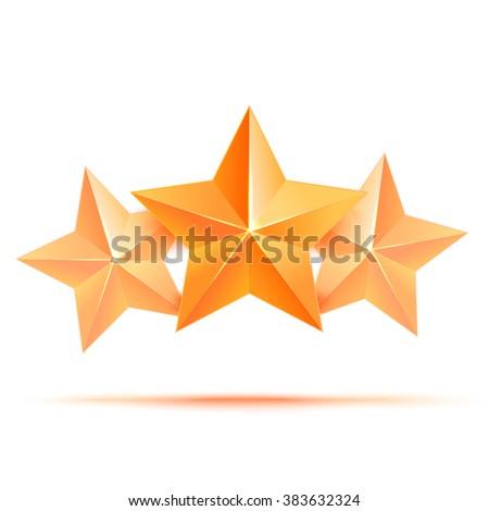 realistic 3d gold star  award